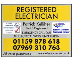 Patrick Kelliher Registered Electrician - Nottingham - Call 07969 310 763